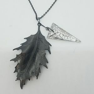 GASOLINE GLAMOUR Jewelry - Fire from heaven gunmetal leaf necklace Swarovski